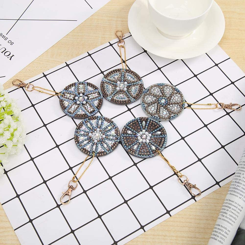 DIY 5D Diamond Painting Keychain for Kids and Adult,Full Drill Pendant Mosaic Making Key-Chains Key Ring,Phone Charm Bag Pendant Decor Accessory 5 Pack Love