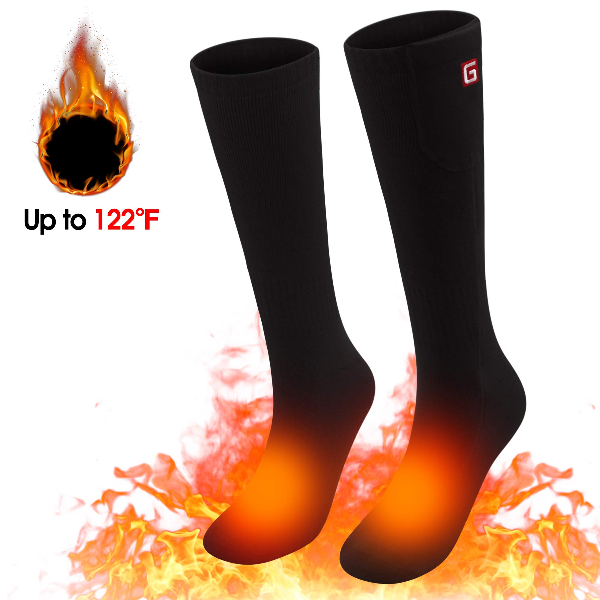 Spring Rechargeable Electric Battery Heated Socks for Men Women,3 Heating Settings Thermal Sock,Winter Warm Heated Sock for Climbing,Hiking,Riding,Skiing by SPRING SHOP