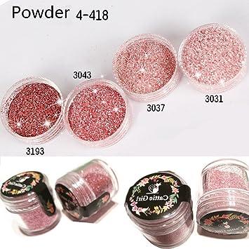 Cattie Girl 4 Cajas De Polvo Para Uñas Color Rosa Y Oro