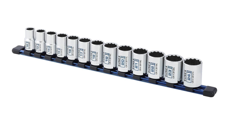 13Piece 1//2 Drive Chrome Socket Rail 12Pt Metric Standard