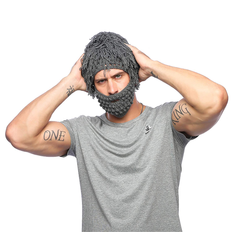 ee0dcc80b9628 Amazon.com  Jenny Shop Beard Wig Hats Handmade Knit Warm Winter Caps Men  Women Kid (Grey