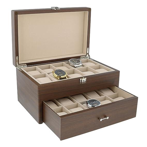 Caja de coleccionistas de relojes de nogal natural con cajón para 20 relojes de pulsera,