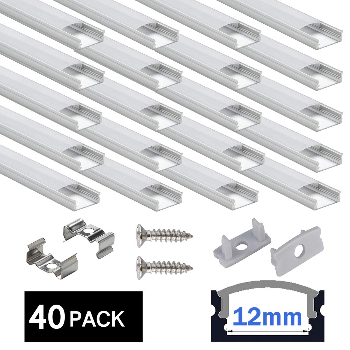 LED Aluminum Channel 40x3.3ft,LED Profile with Cover and Complete Mounting Accessories for Led Strip Light Installation by StarlandLed (Image #1)