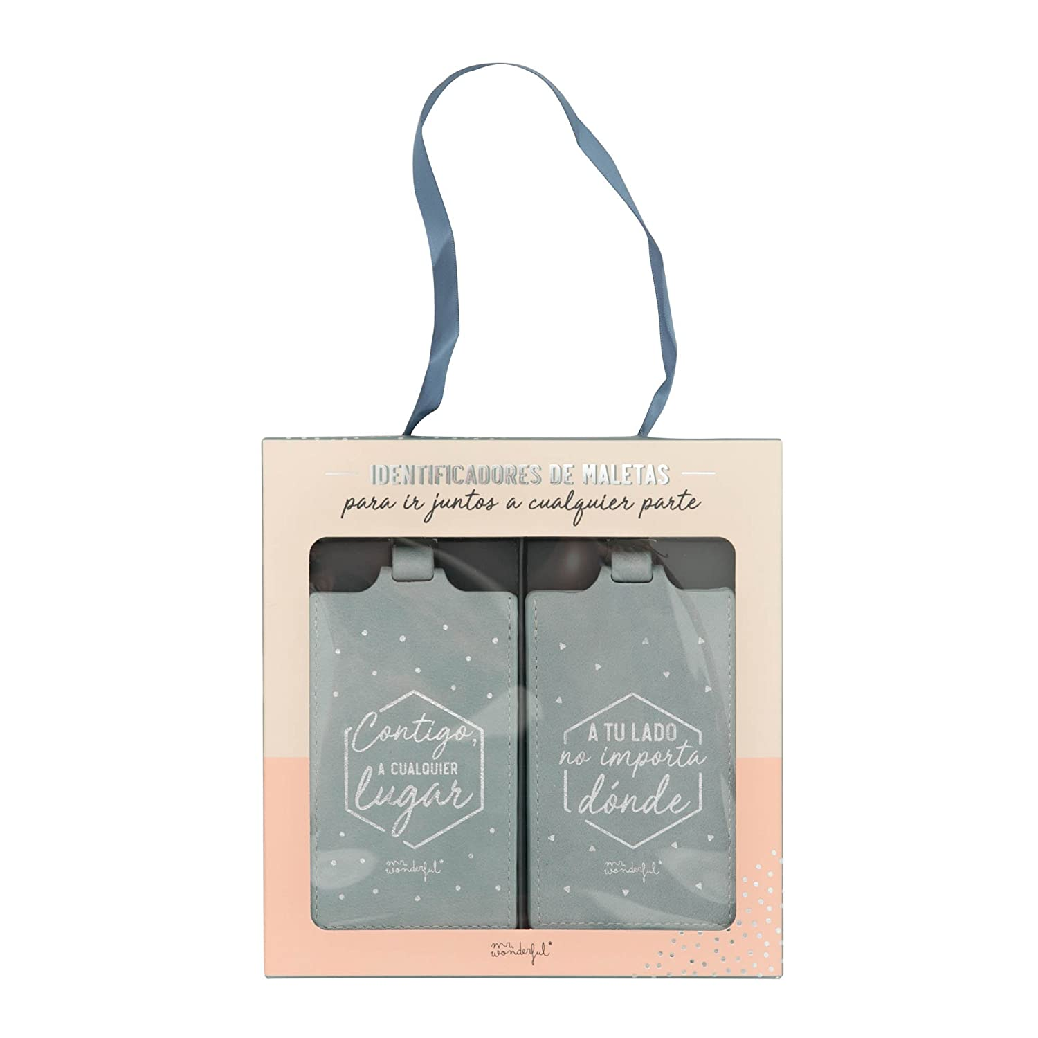Amazon.com | Mr Wonderful Para Ir Juntos A Cualquier Parte Luggage Tag, 11 cm, Grey (Gris) | Luggage Tags