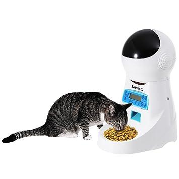 Homdox Comedero automático electrónico alimentador con grabadora de ...