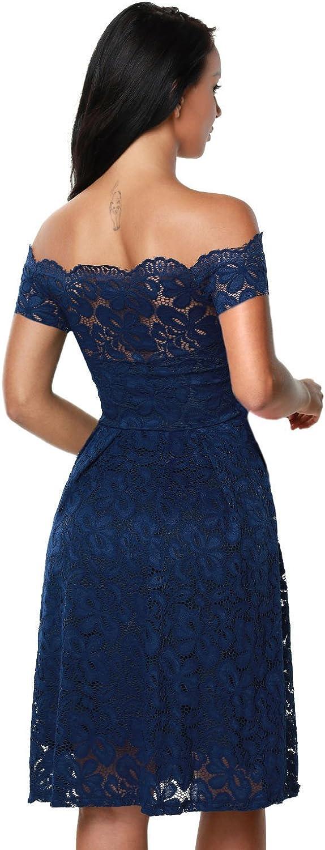 Touvie Damen Elegant Abendkleid Cocktailkleid Schulterfreies Knielang Festlich Kleider Spitzenkleid Schwarz Blau Rot Gr 36 50