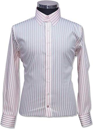 Camisa para Hombre con Cuello de pestañas, Rayas Blancas y Rosas, 100% algodón, Manga Larga, puño Individual para Hombre 100-39: Amazon.es: Ropa y accesorios