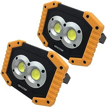 2 focos de luz LED portátiles de 20 W, proyector recargable con ...