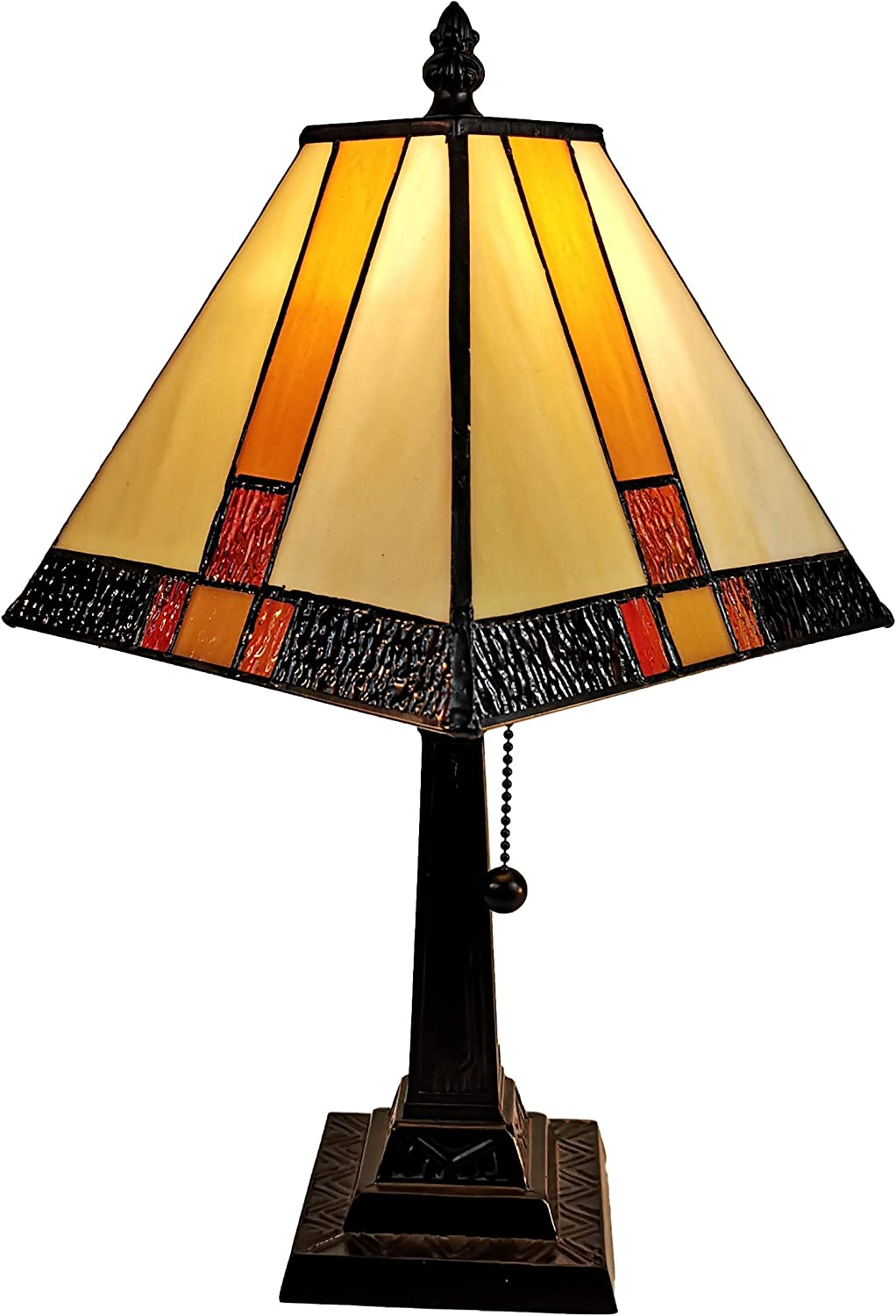 "Tiffany Style Mini Accent Lamp Mission 15"" Tall Stained Glass Red Yellow Tan Brown Vintage Antique Light Décor Nightstand Living Room Bedroom Office Handmade Gift AM208TL08B Amora Lighting"