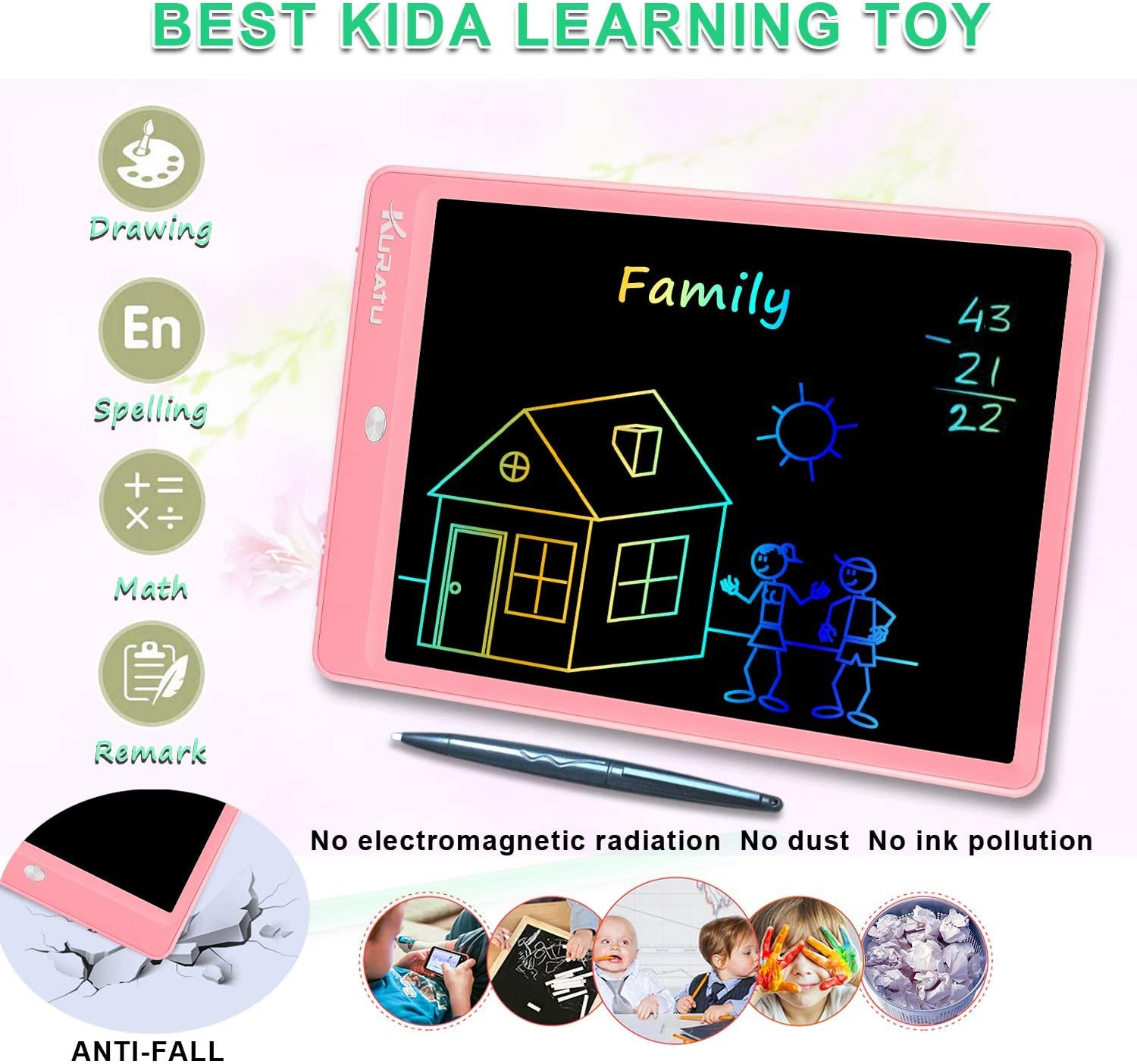 Portable Reusable Ewriter Digital Handwriting Paper Doodle Board for School KURATU 10 inch Colorful Screen Electronic Drawing Pads for Kids Fridge or Office Orange LCD Writing Tablet
