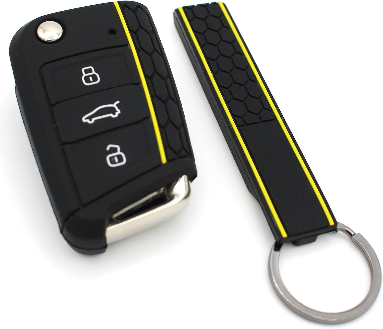 Funda de silicona para llaves de coche verde lima llavero de Finest-Folia con tres botones