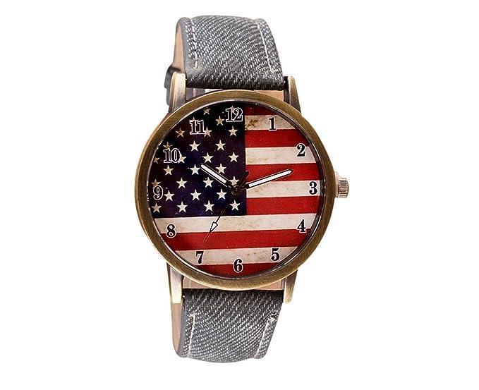 ebijoux 2201 – [USA negro] pulsera reloj unisex de pulsera bandera USA – Elegante