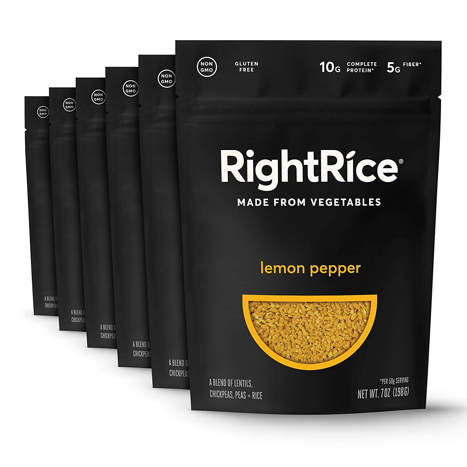 RightRice - Lemon Pepper (7oz. Pack of 6) - Made from Vegetables - High Protein, Vegan, non GMO, Gluten Free