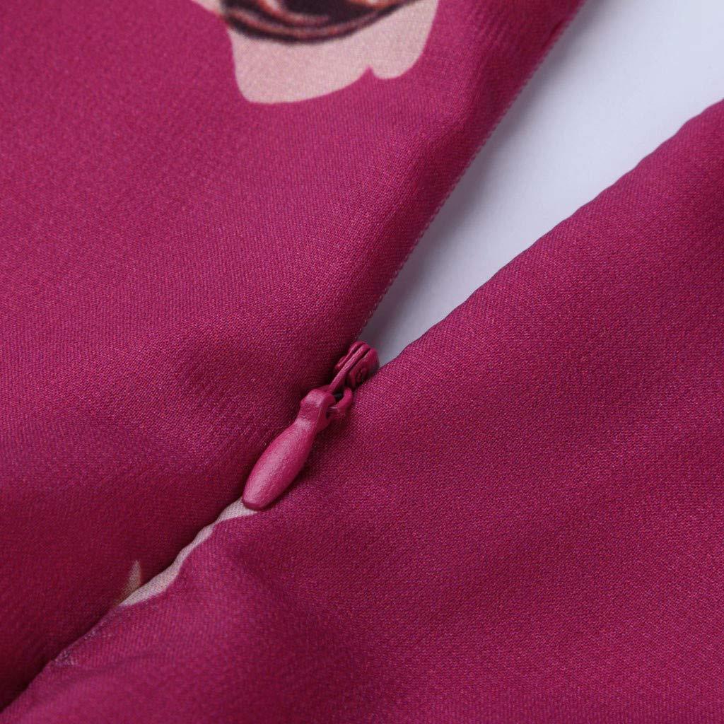 Ultramall Women Fashion Bohemian Floral Printed V Neck Long Sleeve Pleated Chiffon Dress(Hot Pink,M) by Ultramall (Image #8)