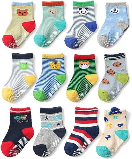 0-1 Years Z-Chen 5 Pack Baby Kids No Show Cotton Socks Ankle Socks Anti Slip