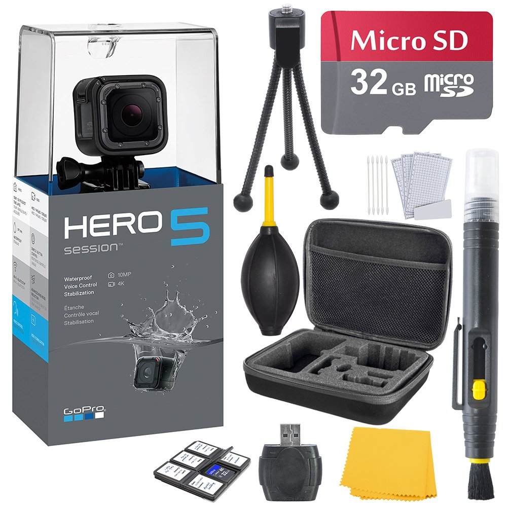 GoPro HERO 5 Session Bundle (7 items) + 32GB Card + Camera Case + Accessory Kit