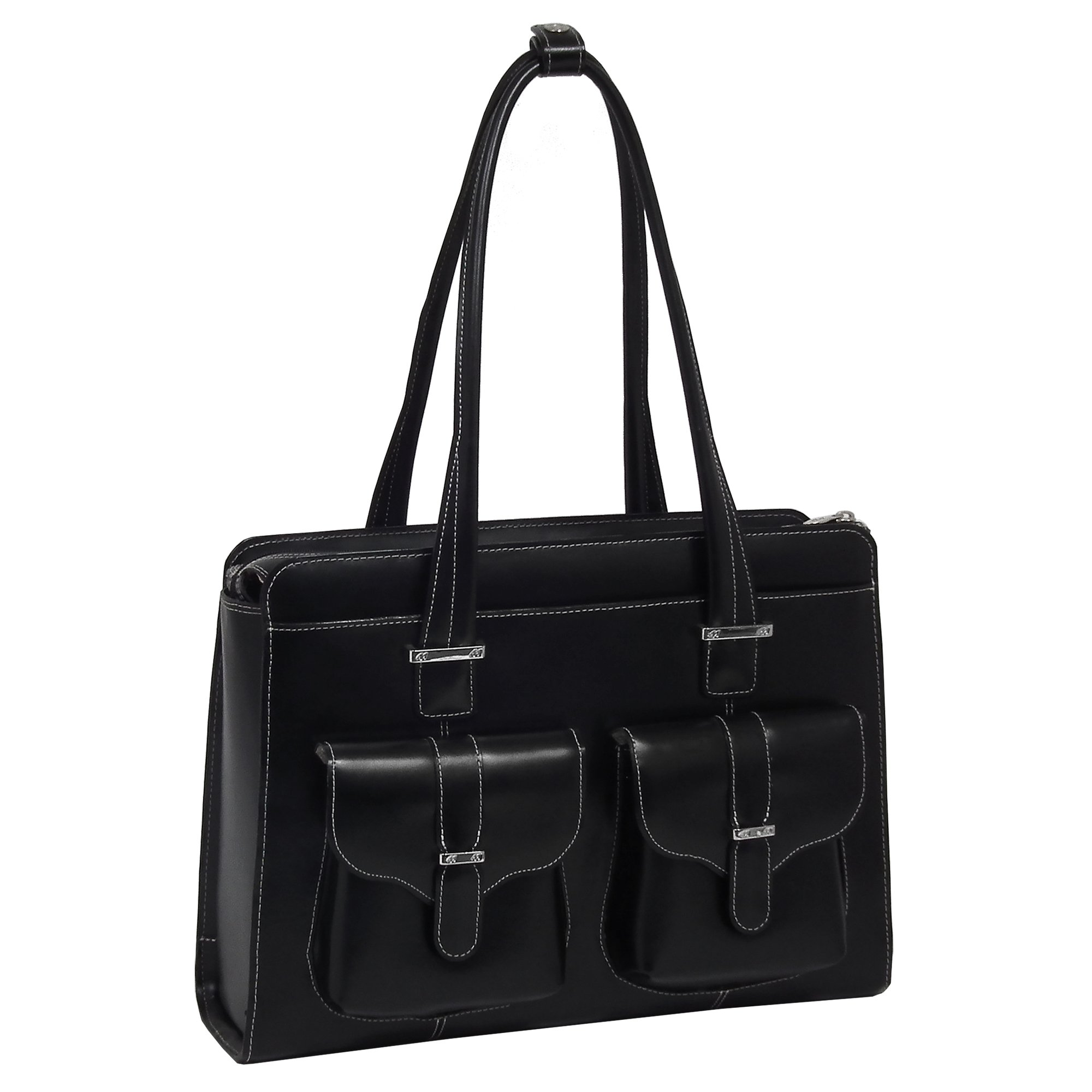McKleinUSA Alexis [Personalized Initials Embossing] 14'' Leather Ladies' Laptop Briefcase in Black