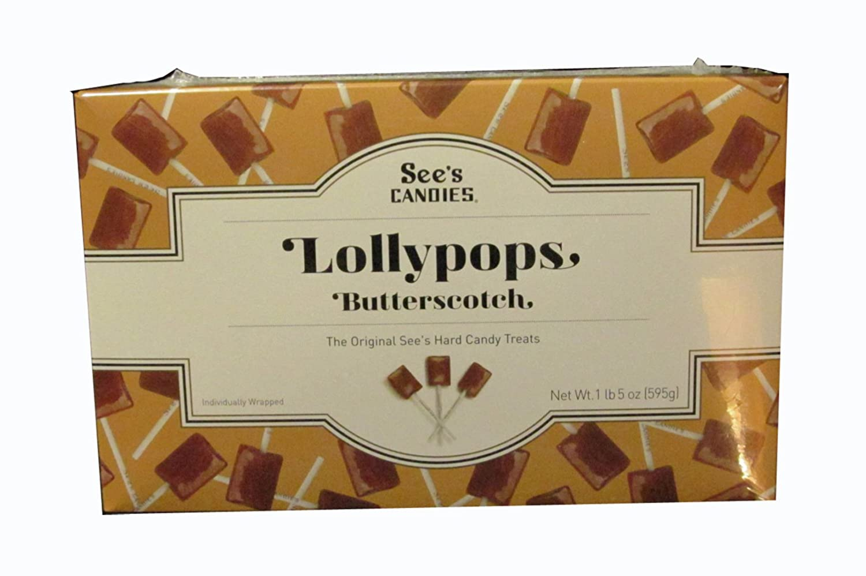 Amazon.com : See's Candies 1 lb. 5 oz. Butterscotch Lollypops ...