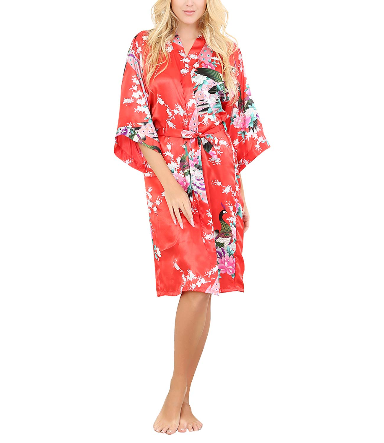 La Dearchuu Summer Dressing Gowns for Women Satin Kimono Robes for Brides Printing Peacock Ladies Nightwear Plus Size Lingerie Robe