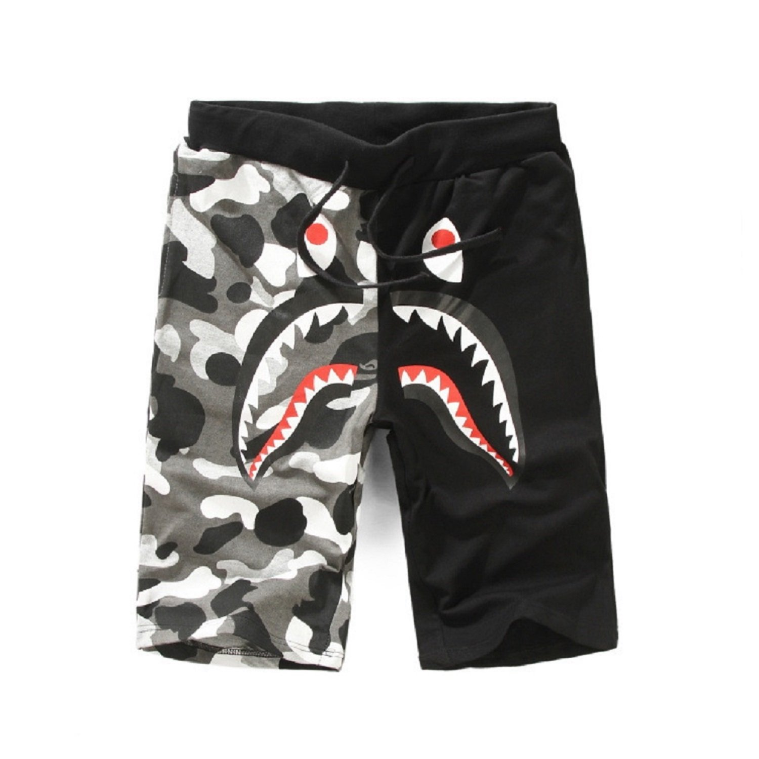 Athletic Pants Shark Pattern Camouflage Stitching Shorts Men Drawstring Black Sports Shorts