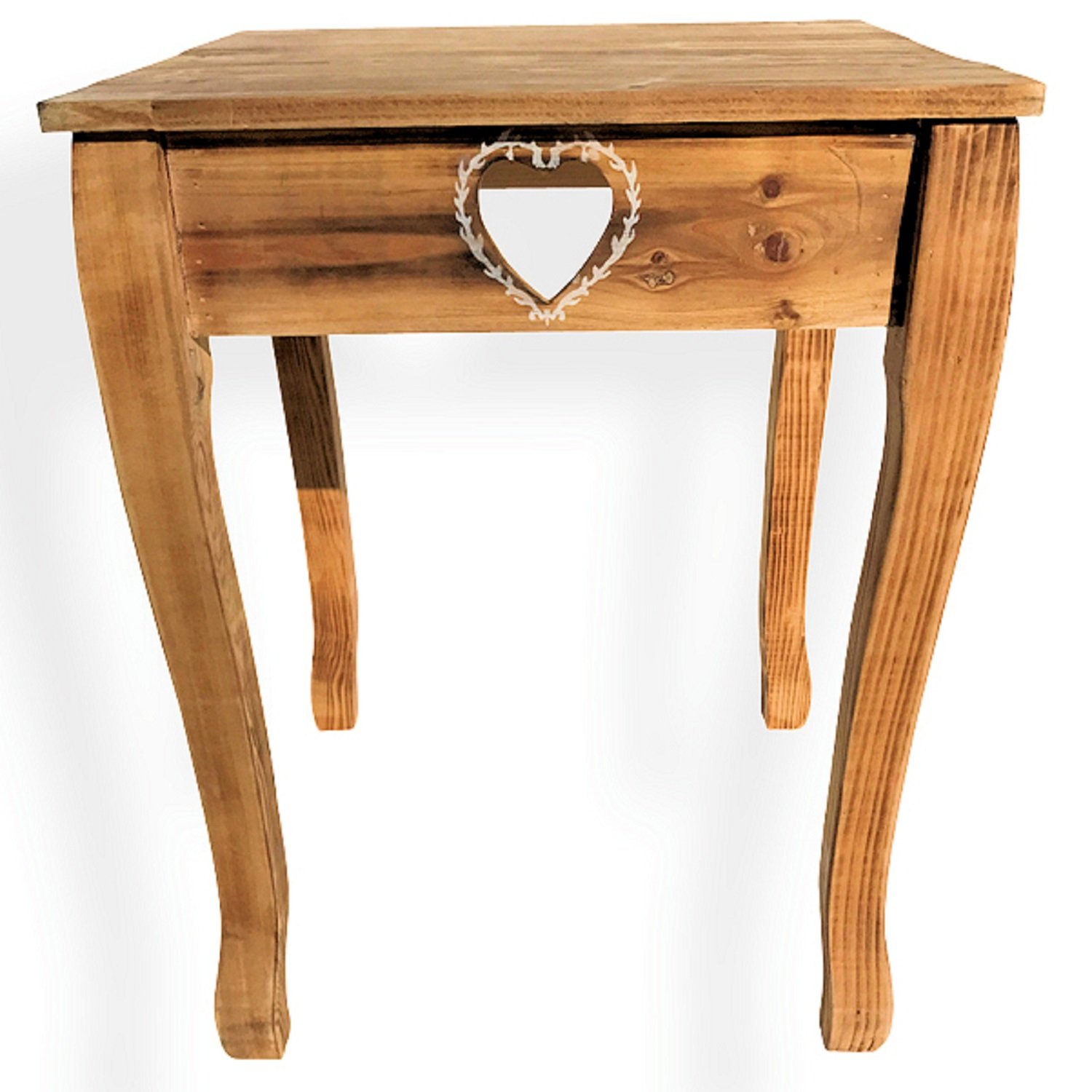 Whole House Worlds The Farmhouse Country Style Table, Side, Accent, or Occasional, Cut Out Hearts, Handcrafted of Sustainable Wood, Natural Color, Rustic White Accents, 22 Inches High, By