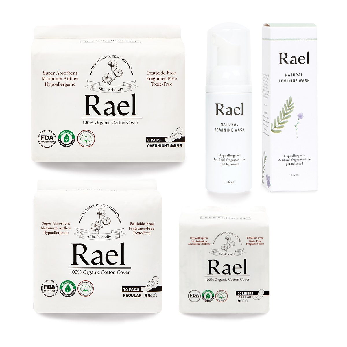 Rael - Value Package - Rael Certified Organic Cotton Regular Pad 1 pack,Overnight Pads 1 pack, Liners 1 pack and Feminine Wash 1 pack