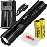 P10GT 900 Lumens Rechargeable Tactical LED Flashlight, Two Nitecore 3500mAh 18650 Batteries, I2 Charger and LumenTac Battery Organizer