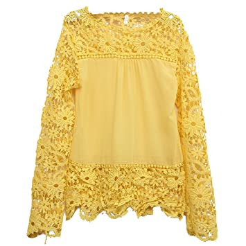 SODIAL (R) Otoño Fashion Mujer Amarillo Hollow-Out de flores de chifón de