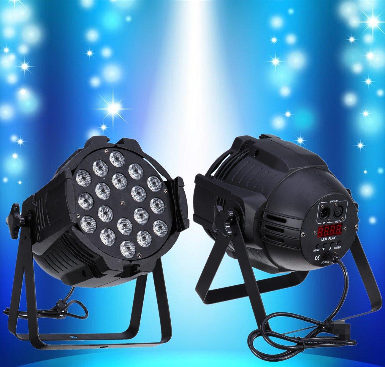 Ridgeyard 2pcs 18x8W RGBW 4 in1 LED 64 Par Lighting DMX512 Stage Party Show DJ Disco Light Lamp Projector