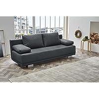 lifestyle4living Funktionssofa in grauem Microfaserstoff, Sofa mit Gästebettfunktion und Bettkasten, Pflegeleichte Schlafcouch inkl. Rücken- und Armlehnkissen.