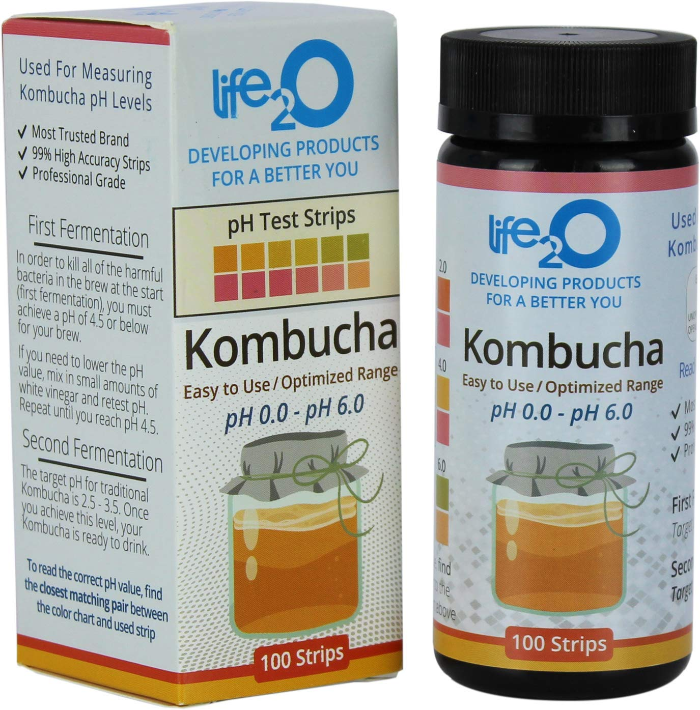 Kombucha Kit pH Test Strips, 100 pH Acid Tests for Home Fermentation and DIY Brewing 0 – 6 pH, Brew Grade pH Ferment Tester Stick, Works with Scoby Starter, Mushroom Water, Tea, Wine, Beer and Alcohol