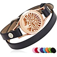 BRIGHTSHOW Essential Oil Diffuser Bracelet,Stainless Steel Aromatherapy Locket Novelty Bangle Bracelets Leather Band with 10 Color Pads,Girls Women Men's Bracelets Jewelry Gift