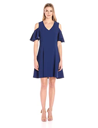 Lark & Ro Women's Dresses Cold-Shoulder A-Line , Navy, Extra Small