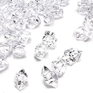 Clear Fake Crushed Ice Rocks, 500 PCS Fake Diamonds Plastic Ice Cubes Acrylic Clear Ice Rock Diamond Crystals Fake Ice Cubes Gems for Home Decoration Wedding Display Vase Fillers by DomeStar