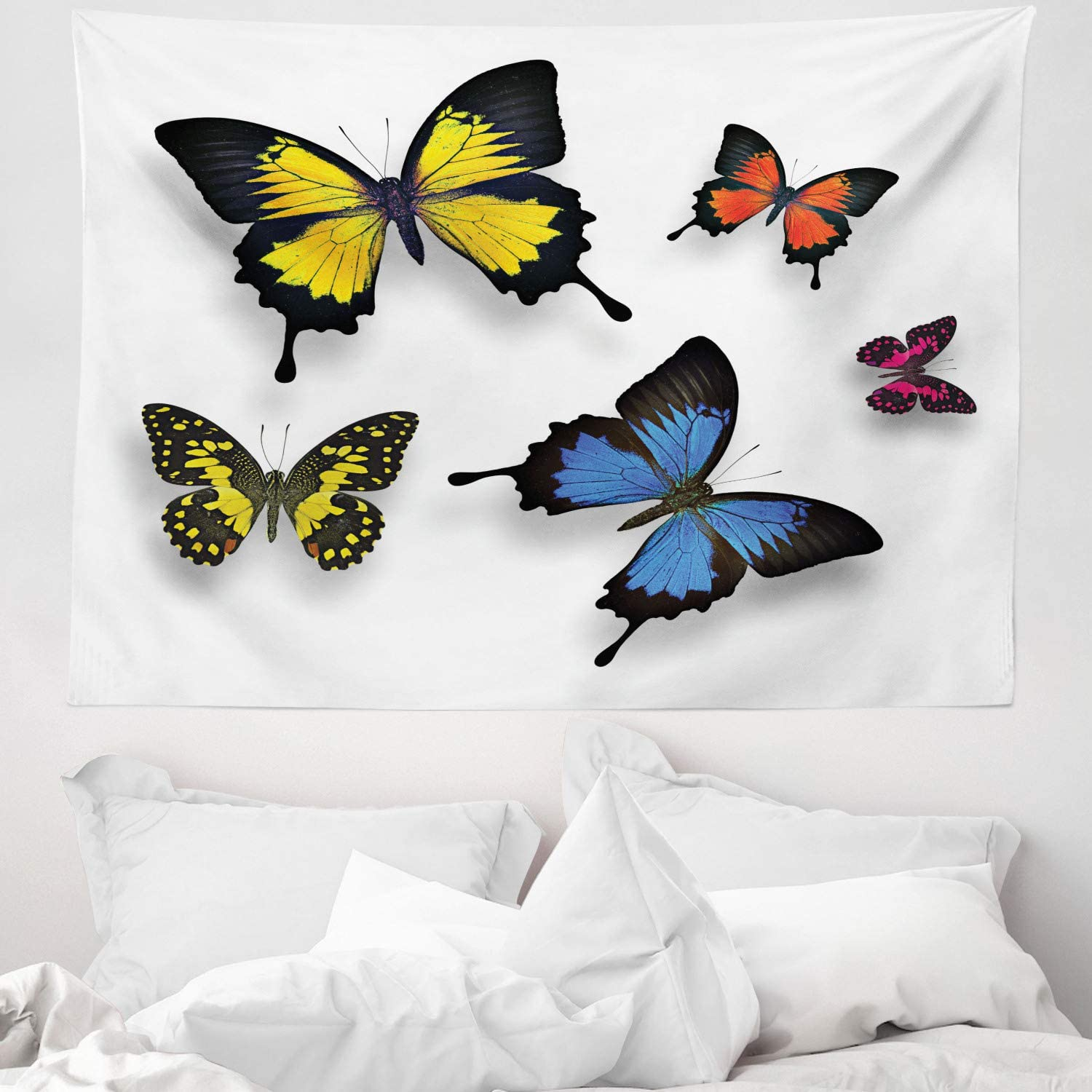 Abakuhaus Butterfly Tapestry Various Colorful Butterflies Pattern And Moths With Grace Of Nature Themed Wings Fabric Wall Hanging Decor For Bedroom Living Room Dorm 58 W X 43 L Multicolor Amazon Co Uk Kitchen