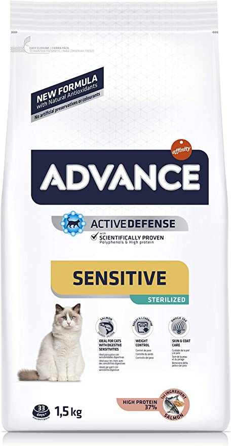 Oferta amazon: ADVANCE Sensitive Sterilized - Pienso para Gatos Esterilizados con Salmón - 1,5Kg