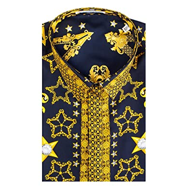 f3a662c250cb Image Unavailable. Image not available for. Color: Versace Collection Men's  Silk Baroque Dress Shirt ...