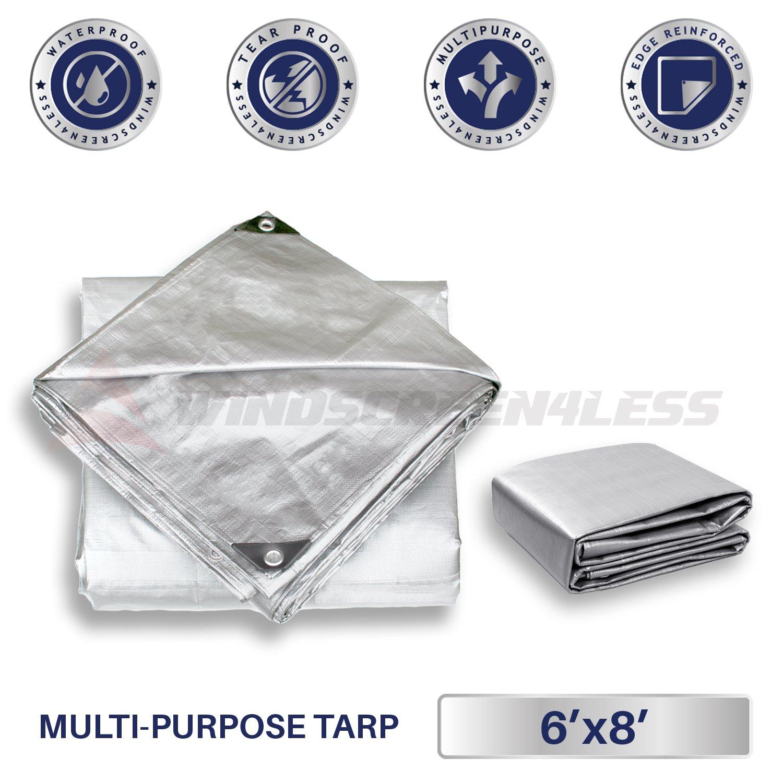 Windscreen4less 30 x 30 Heavy Duty 10 Mil Waterproof Silver Poly Tarp