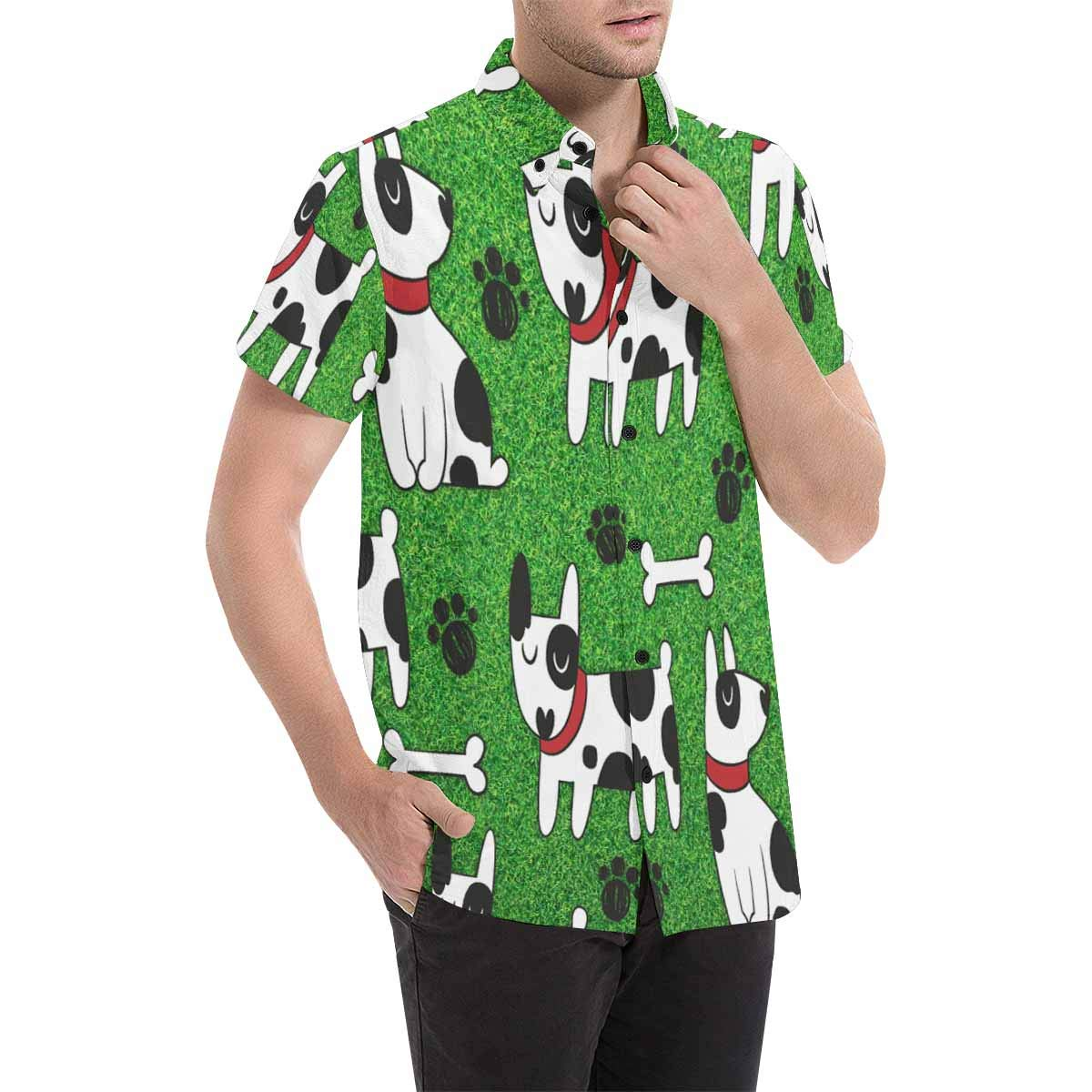 InterestPrint Cute Dogs Green Casual Regular Fit Button Down Shirts Short Sleeve for Men