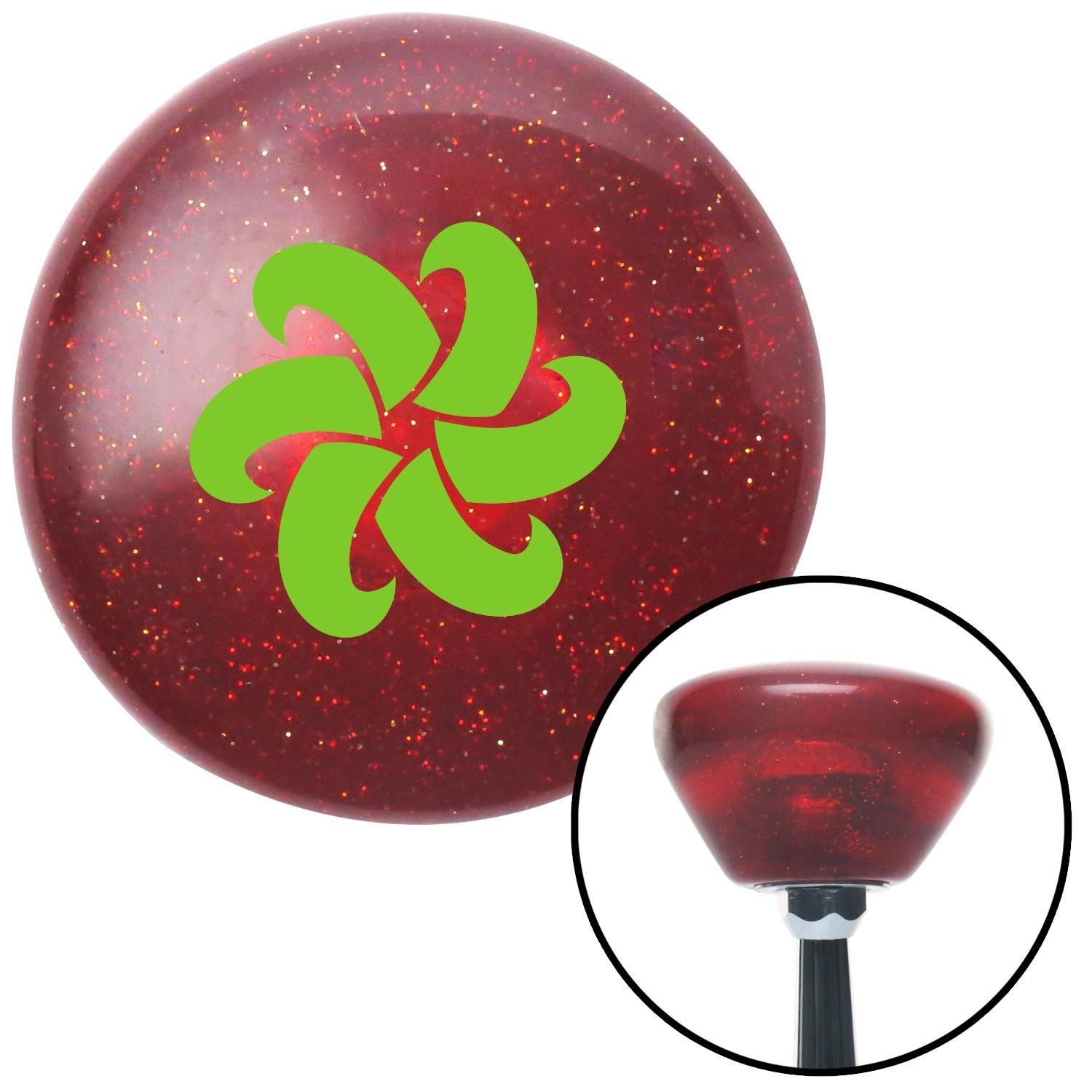 American Shifter 194225 Red Retro Metal Flake Shift Knob with M16 x 1.5 Insert Green Fan Blades Spinning
