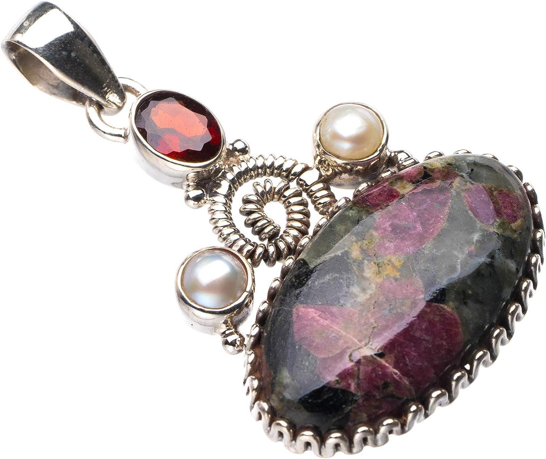 StarGems E0236 - Colgante de plata de ley 925 natural de Eudialita, granate y perla de río hecho a mano