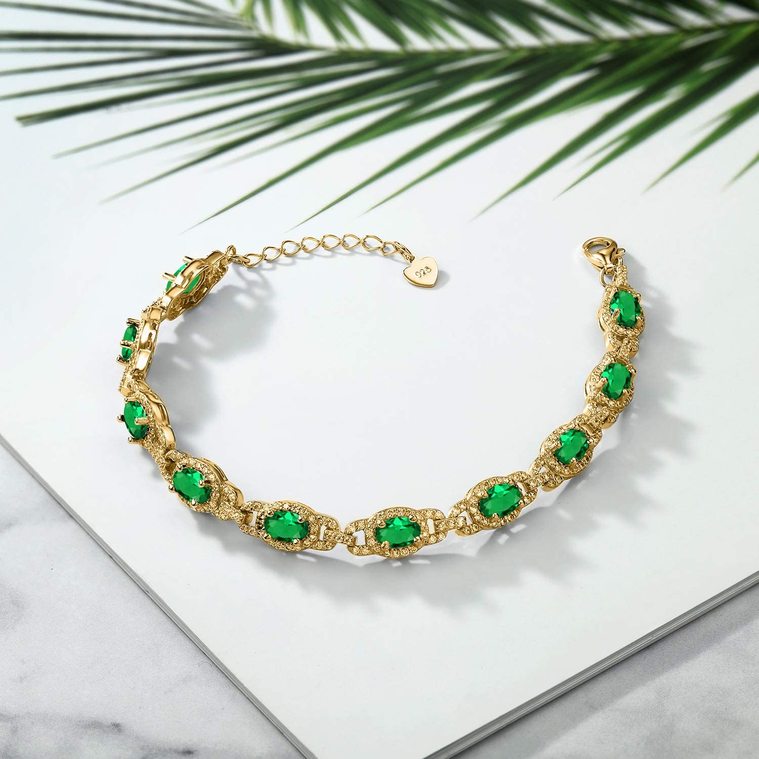 Gem Stone King 8.00 Ct Oval Green Simulated Emerald 18K Yellow Gold Plated Silver 7 Inch Bracelet With 1 Inch Extender