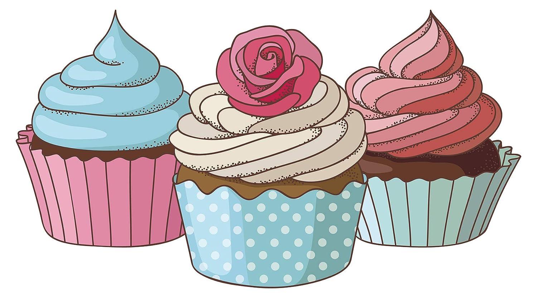 Wandtattoo Küche Retro Cupcakes als farbiges Set Wandsticker Esszimmer