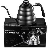 Hervidor de té y café con revestimiento antiadherente de acero inoxidable con termómetro, boquilla fina de cuello de…