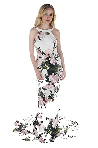Pia Michi Rosa Floreale 1781 Stampa Halter Collo Bow Dress UK 10 (US 6)