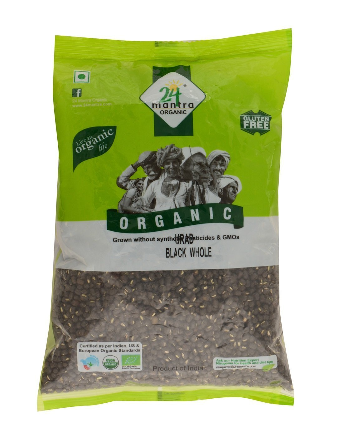 Organic Urad Dal Black Whole 2 Pounds, Black Matpe Beans or Black lentils, USDA Certified Organic - 24 Mantra Organic