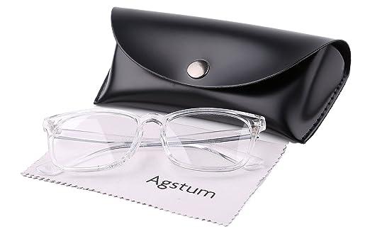 25bbd74d912 Agstum Wayfarer Plain Glasses Frame Eyeglasses Clear Lens (Transparent   Amazon.in  Clothing   Accessories