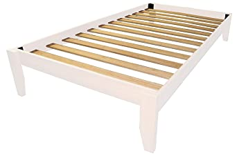 epic furnishings stockholm solid wood bamboo platform bed frame twin size white finish