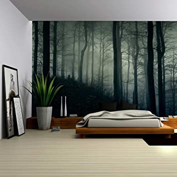 Amazon com wall26 a dark and misty forest wall mural removable sticker home decor 66x96 inches home kitchen