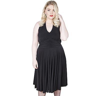 Emily London Womens Plus Size Marilyn Halter Neck Jersey Dress Black